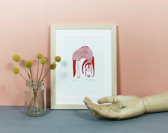 Bughunt | Linoprint, linocut, linoleum, print, poster, bug, ladybird, girl, art, artprint, original, limited edition, knallbraun, A5