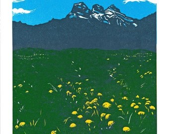 Three Sisters Summer, 4 Color Linocut Relief Print, Hand Pulled Fine Art, Limited Edition, Printmaking Original, Canmore