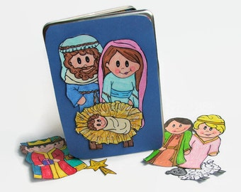 Handmade Children's Nativity, Magnetic Paper Dolls, Christmas Gift for Families, Toy for Church