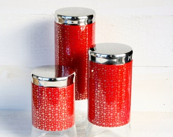 Vintage Red & Silver Snowflake Glass Canisters- Set of Three