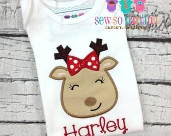 Christmas Baby Girl Outfit -  Baby Girl Christmas Reindeer Outfit - Toddler Christmas Shirt - Baby Girl Christmas outfit