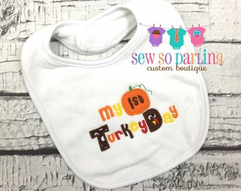 1st Thanksgiving Bib - Fall Bib - Thanksgiving Turkey Bib