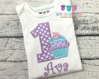 1st Birthday Girl Cupcake Outfit - Baby Girl Cupcake Birthday Outfit - Cupcake Birthday Shirt- 1st Birthday Outfit