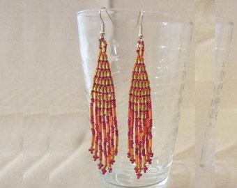 Woven Glass Bead Earrings, Handmade Vintage 80's Indian Summer Dangle Earrings, Fashion Jewelry, Beaded Earrings, Ladies Gift, Long Earrings