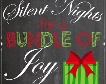 Bundle of Joy - Baby Announcement - Christmas Chalkboard