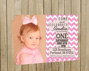 Trendy Pink Chevron First Birthday Invitation, Girl, Printable, Custom Digital File