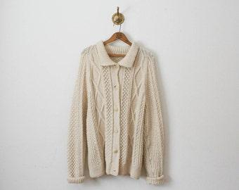 vintage 70s cream oversized popcorn knit coat jacket