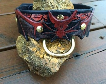 Fire Dragon Hand Tooled Leather Dog Collar