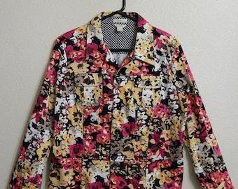 Christopher + Banks Womens Large 2-Pocket Floral Jacket