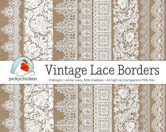 Vintage Lace Borders - white lace digital borders, ivory lace borders, photography overlay, wedding clipart, printable Instant Download 5017