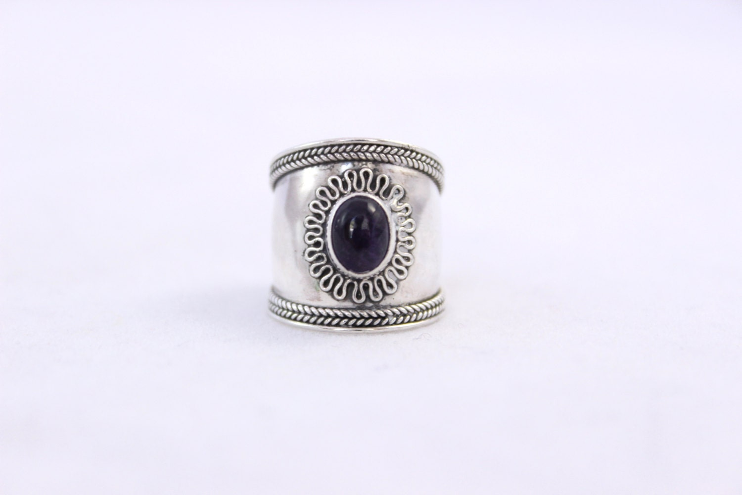 sterling silver amethyst cigar band ring wide by