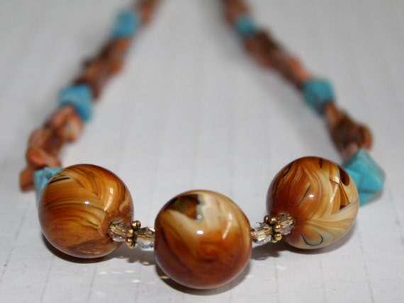 Preppy Brown and Blue Beaded Necklace, Chunky Brown and Turquoise Stone Necklace, Southwestern Necklace, Preppy Jewelry
