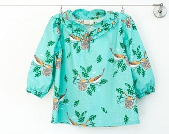 Girl Organic Top, turquoise shirt,organic cotton shirt,ruffled girl shirt,boutique clothing,winter clothing,sizes 3T, 4T, 5, 6, 7, 8, 10, 12