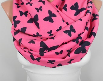 Butterfly Scarf Infinity Scarf in Hot Pink Summer Scarf Loop Scarf Women Fashion Accessories Christmas Gift Ideas For Her M