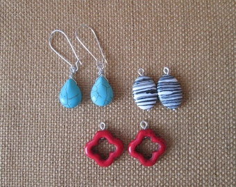 SALE 20% OFF- Interchangeable Turquoise Earrings by The Darling Duck