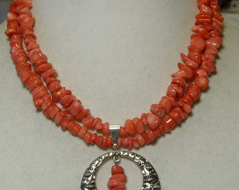 """Cynthia Lynn """"STRAWBERRY SMOOTHIE"""" Pink Coral Beaded Silver Plated Necklace  16-18"""""""