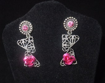 Silver & Pink Jeweled Stud Earrings with Roses