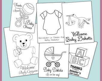 Baby Shower Personalized Coloring Book- Printable PDF Emailed To You