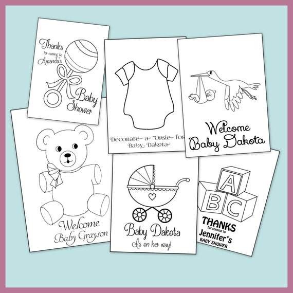 Baby Shower Personalized Coloring Book Printable PDF Emailed