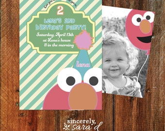 Girl Elmo Birthday Party Invite (Front & Back) - Printable