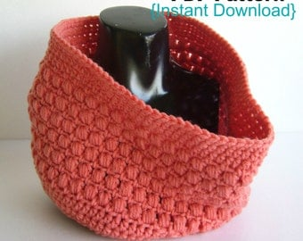 Crochet Pattern, Crochet Aligned Puffs cowl pattern, INSTANT DOWNLOAD PDF, Infinity scarf, Snood.