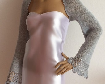 Silver Shrug, Shawl, Bridal Shrug, Evening Shawl, Beaded Evening Shrug