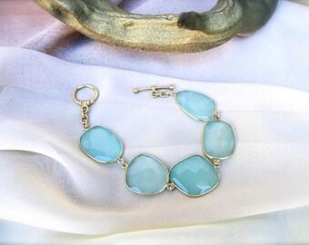 Aqua Blue Chalcedony Bracelet