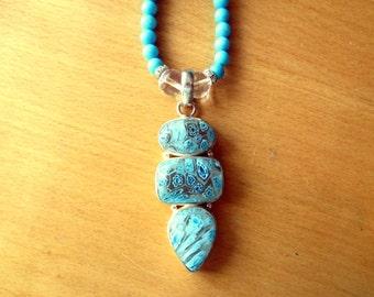 Aqua Millefiori Necklace, Sterling Silver Triple Millefioiri Pendant and Aqua Glass Bead Necklace