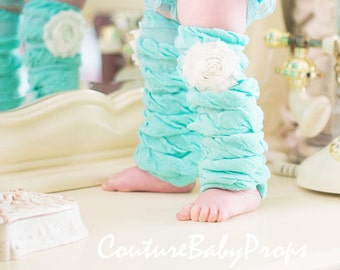 AQUA, MINT, BLUE, Turquoise, ruffle leg warmers, girls leg warmers, baby leg warmers, girl's leg warmers, baby girls, baby leggings