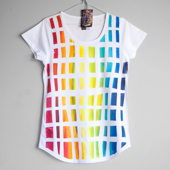 BEHIND THE RAINBOW. Cotton T shirt for woman or girl. Tshirt with rainbow. Unique tees.