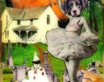 The Guardian of Cordelia's Swan Song (Tiny Tale Art) - Anthropomorphic, Collage, Print, Mixed Media, Fairy Tale Art, Story Art