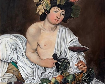 Oil painting, reproduction Bacchus Caravaggio.