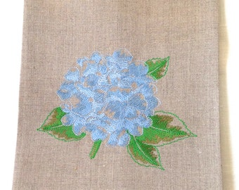 Embroidered Tea Towel or Guest Towel Hydrangea Natural Linen