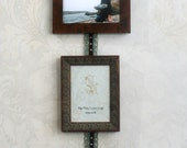 Photo Frame Collage hold 3-5x7 photos vintage styled Burl and Distressed Wood hung from a shabby chic ribbon beautiful wedding gift