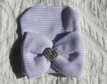 Pink, White and Blue Hospital Newborn Beanie with matching  Bow and added Sparkle!  Newborn Hat, Baby Girl Hospital Hat, Heart Rhinestone