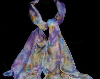 purple passion SILK SCARF, signature,  hand painted, 100% silk
