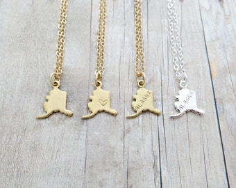 Alaska State Charm Personalized Necklace (Gold or Silver)