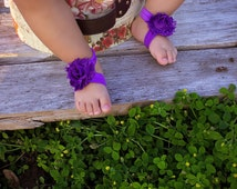 Barefoot Sandals - Solid Purple - Newborn Infant Baby Toddler Girl Sock Tights Shoes Shoe Cover Easter Spring Summer