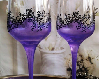 Set of 2 hand painted champagne flutes Purple fantacy