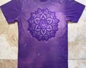 Sacred Starflower Mandala - Hand Stenciled Bleach Top