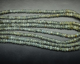2 Strands AAA 16 Inch 4-5mm Natural Untreated Moss Aquamarine Faceted Rondelle Beads Strand-Moss Aquamarine Beads