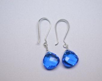 Handmade 925 Silver,Heart Earrings,Neon Blue Quartz Heart Wire Wrapped Earrings-Neon Apatite Earrings-Heart Dangles