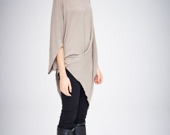 Twisted Beige Top/ Oversized Asymmetrical Top/ Loose Cappuccino Top/ Casual Blouse by AryaSense/ TEDJ14BE