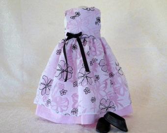 Black & Pink Flower Dress for American Girl 18 inch Doll