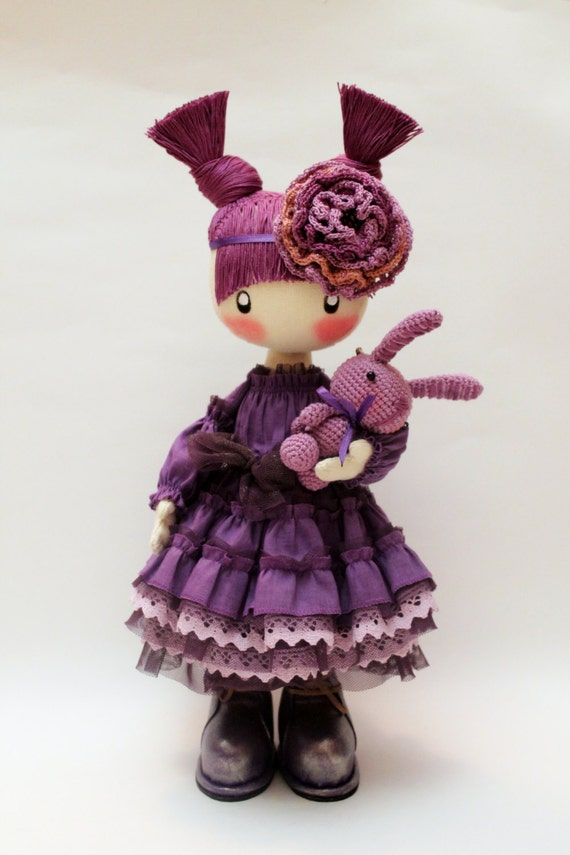 Doll Frusya purple rag doll violet doll clothes textile doll gifts for her
