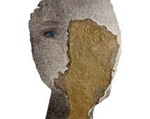 Modern Fine Art Print Portrait, Shabby Chic Wall Art, Gold and Gray Face, Various Sizes