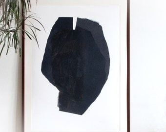 Minimal Abstract Print, Large Modern Black Art Poster, Dark Paper Collage Head