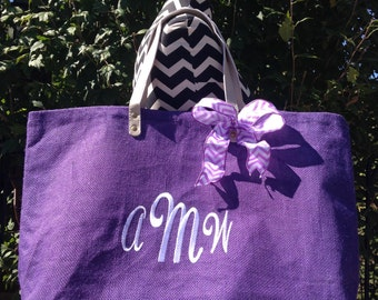 Mud Pie Solid Purple Jute Tote, Reuseable Grocery Bag, Beach Bag, Carry-All, Monogrammed Tote and More!