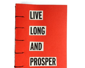 Live Long and Prosper coptic stitched  journal RED