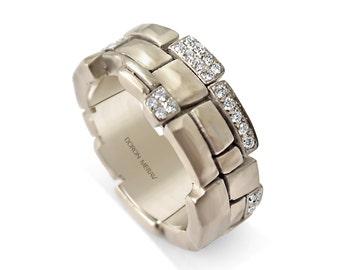 Bricks Wedding Band - Gold Diamonds Wedding Band, Alternative Engagement Rings, wedding ring, wedding band, mens band. White gold band